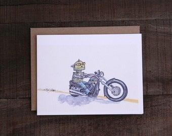 Ramblin' Ralph - whimsical cool robot motorcycle rider, blank inside