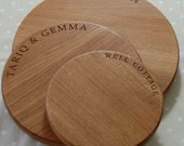 Solid Oak Hand Crafted Round Cheese Board, Personalised Engagement Gift, Wedding Gift, Anniversary Gift, Engraved Wooden Chopping Board