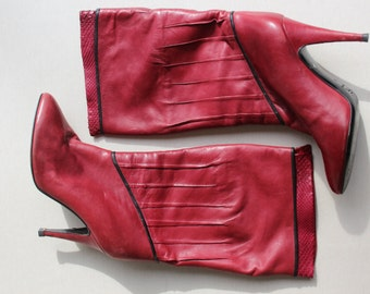 1970's Vintage Red Leather Boots - 70's leather boots - Size Us 6 / Eu 36
