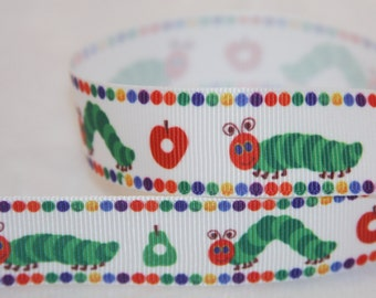 """The very hungry caterpillar inspired 7/8"""" grosgrain ribbon R36"""