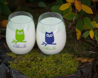 Personalized owl glasses, Wedding gift, His and Hers stemless wine glass (2) with owls. Just married, Couples gifts, Anniversary, Newlyweds