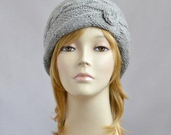 Womens Knit Hat, Beanie for Women, Winter Hat, Knit Beanie Hat, Womens Hat, Gray Hat