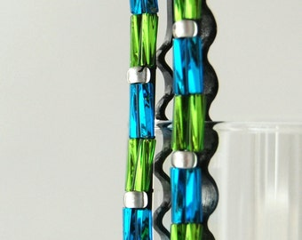 Green and Blue Beaded Bobby Pins
