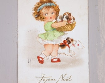 3 Used Vintage French Postcards with Puppies - Merry Christmas 1920s - Shabby Chic - Free Shipping within the USA