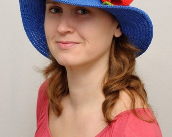 Womens Gift|for|Her Floral Hat Blue Hat Sun hat Wide Brim Hat Summer Hat Womens Hats Beach Hat Crochet Hat Womens Sun Hat Ladies Hat Poppy