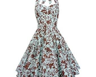 Mint Floral Dress Rose Dress Bridesmaid Dress Vintage Style Dress Rockabilly Dress Pin Up Dress 50s Party Retro Swing Prom Plus Size Dress