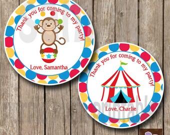 Circus Favor Tag -Circus Monkey - Circus Birthday Party - Circus Monkey