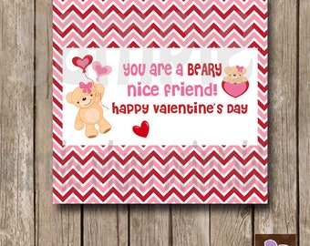 Instant Download - Valentine Candy Bar Wrapper - Printable Beary Valentine Candy Wraps - Print at Home
