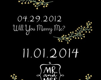 PRINTABLE Anniversary Dates Sign - 2 COLORS! - Custom Printable, Various Sizes