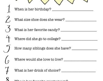 CUSTOM PRINTABLE How Well Do You Know The Bride Game