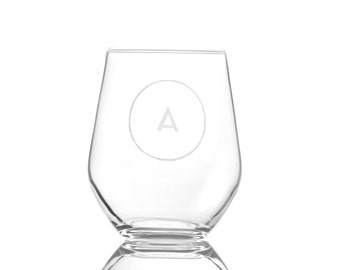 Personalized Stemless Wine Glass With Circle  Monogram