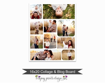 Blog Board & Collage Template 16x20 - Social Media Collage Template - Digital Storyboard - Instant Download - BCB01
