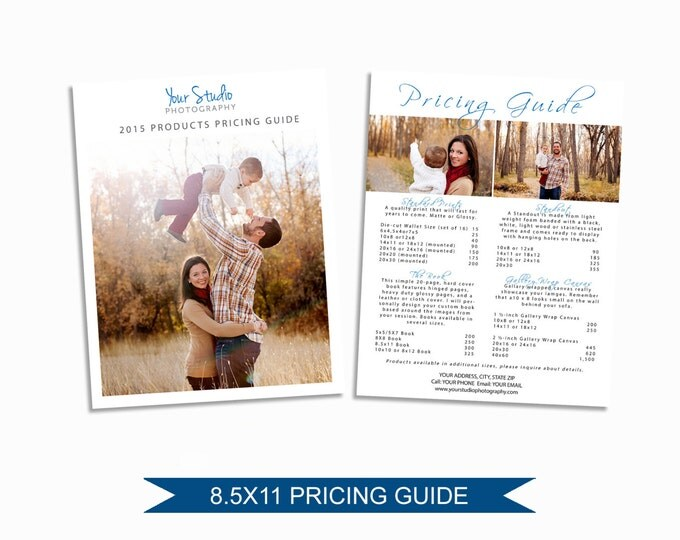 Photographer Price List - Photoshop Pricing Guide Template - Marketing Materials - Graphic Design Templates - Photography Branding  - M004