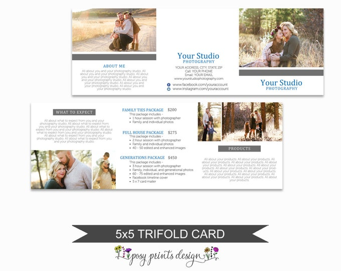 Trifold Brochure Template - Pricing Guide -  5x5 Photoshop Template - Accordion Trifold Card - TFC03