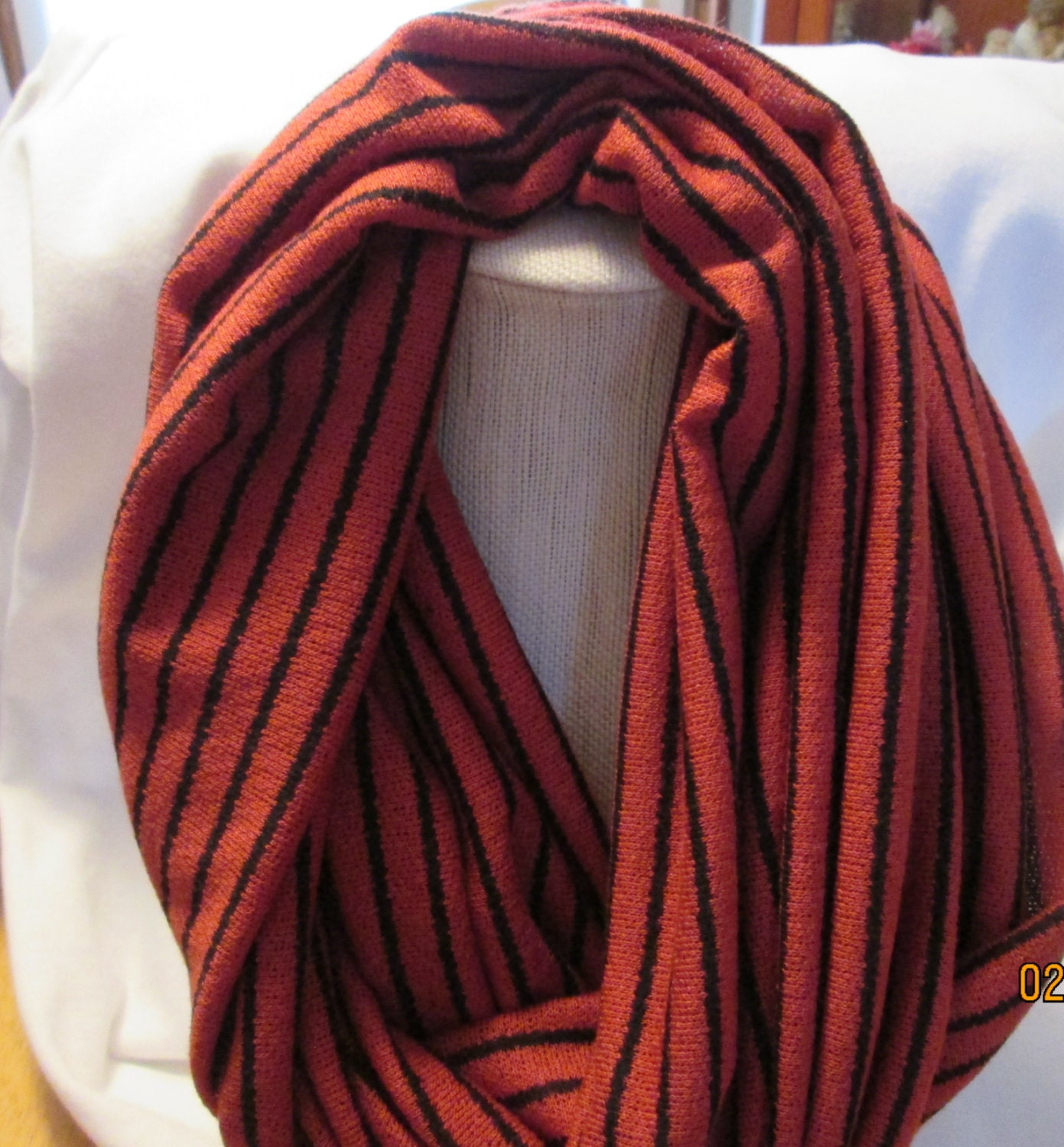infinity scarf child burnt orange and black by