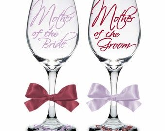 Set of Two (2) Mother of Bride & Mother of Groom Personalized Wine Glasses, Mother of Bride Gift, Mother of Groom Gift