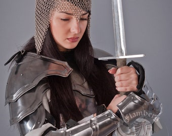 "Larp Medieval Fantasy Costume  ""Brave Angel""  steel  armor: pauldrons"
