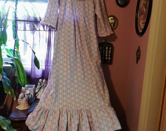 HandMade to Order -- Victorian/Vintage/Cottage Chic Long Flannel Nightgown - 3/4 Length Sleeves