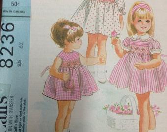 Vintage 1960s Child's Smocked Dress Pattern McCall's 8236