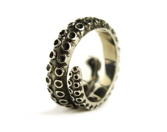 Octopus Tentacle Ring Antique Silver Color Adjustable Ring Wrap Ring Boho Steampunk Jewelry - FRI005 T1