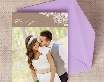 Rustic Vintage Kraft & Lace Wedding Thank You Photo Note Card