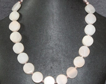 Frosted Rose Quartz, Freshwater Pearls, and Czech Crystal Beaded Statement Necklace