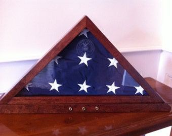 5 x 9.5 Memorial Flag Display Case w/ Embedded Shell Casings