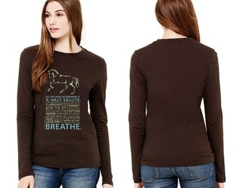 """Ladies' Long Sleeve """"Breathe"""" Dressage Designer Graphic Tee in Chocolate Brown with Baby Blue and Peridot Inks"""