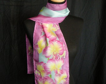 Hand Painted Sweet Pea Silk Scarf **Made to Order**