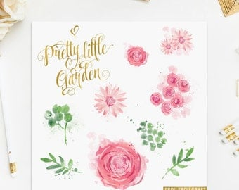 Watercolor Flowers ClipArt Intant Download Digital Pink Roses Daisy Large High Resolution Flowers Floral Green Leaves Wedding Invitation DIY