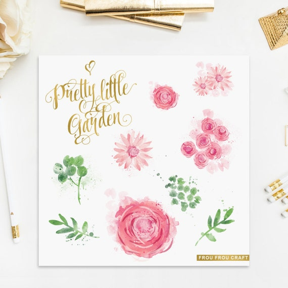 Watercolor Flowers ClipArt Intant Download Digital Pink