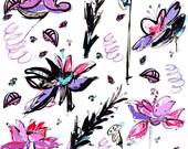 Orchid Fleur Tea Towel ~ Flour Sack ~ Ellie Fidler Painting