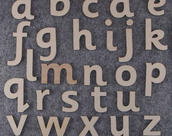 Sassoon Font Alphabet Set 3mm Plywood Lower Case Letters A-Z 26 Characters