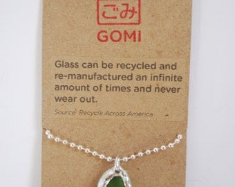 Pendant made from recycled glass.