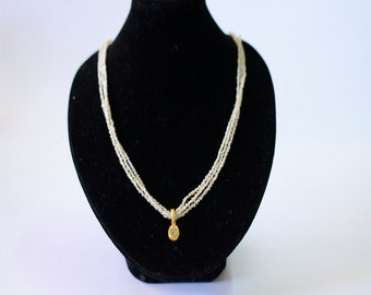 3 Strand Seed Pearl Necklace with Diamond, Gold Pearl Necklace, Natural Pearl Necklace, Bridal Pearl, Wedding Necklace, Unique Necklace