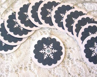 Christmas Tags Handmade -  Round Holiday Tags - Blue Snowflake Christmas Gift Tags - Snowflake Favor Tags Wedding