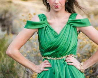 Janay Marie Designs - Green Chiffon High-Low Formal/Semiformal Gown, Fashion Show Sample Piece