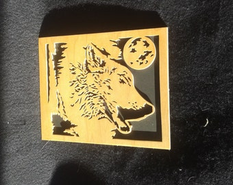 Woodworking,howling wolf