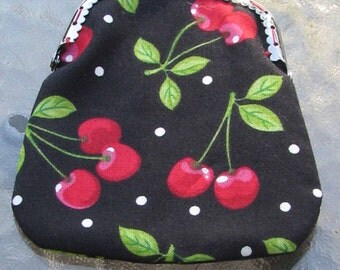 Cherry coin purse with snap closure