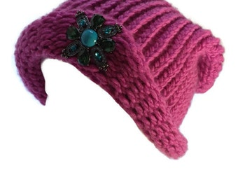 Enna in Pink~ A Hand Knit Beanie Style Hat