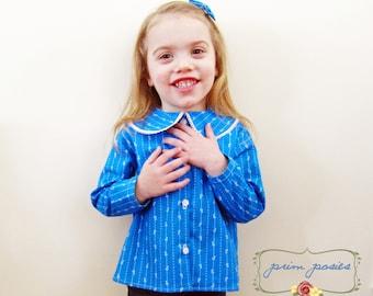 Toddler Girl Clothes, Girls Shirt, Blue Floral Top, Peter Pan Collar, Formal Girl Top, Button Up Shirt, Fancy Girl Clothes, 2T