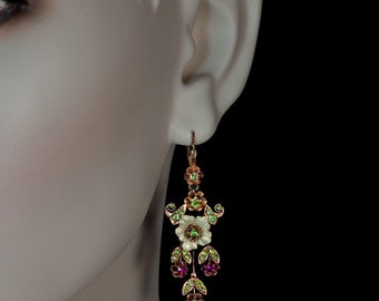 Art Nouveau Enamel Demantoid Ruby Gold Vintage Long Earrings 1910s