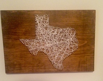 Texas String Art on Hand Stained Cedar - Can Create Any State