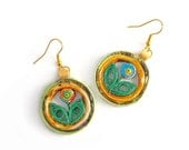 Spring earrings, paper from advertising flyers, recycled paper, eco elegant