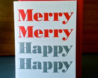"""Modern Christmas Holiday Letterpress Cards """"Merry Merry"""""""