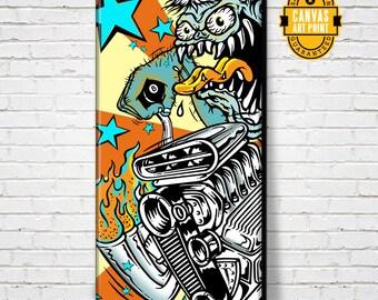 Car Art - Rat Rod - Canvas Art Print, Custom Culture, Monster, Pop Art, Auto Art, Car Gift, Man Cave Art, Garage Art, Man Cave Decor