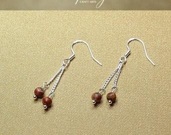 Gemstone Picasso Jasper earrings, Double dangle Picasso Jasper earrings, 925 Sterling Silver hooks, Crystal earrings, InfinityCraftArts
