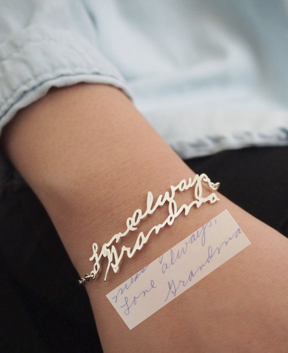 SALE Memorial Signature Bracelet - Personalized Handwriting Bracelet Keepsake Jewelry in Sterling Silver - Bridesmaid Gift - MOTHER GIFT