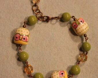 Green Porcelain Owl Bracelet