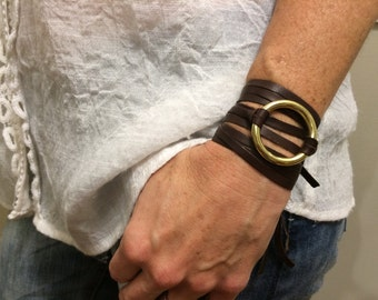 Brown Leather Wrap Bracelet w/ Gold Ring